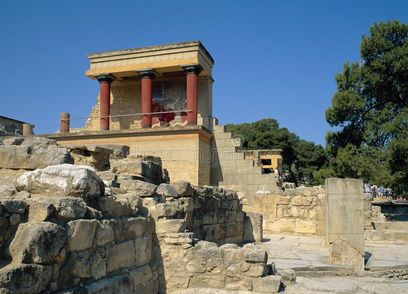 CRETE, KNOSSOS. Restored North Entrance.Between 1.700-1.450 BC, the Minoan civilisation was at its peak and Knossos was the most important city-state. During royalty free stock photos