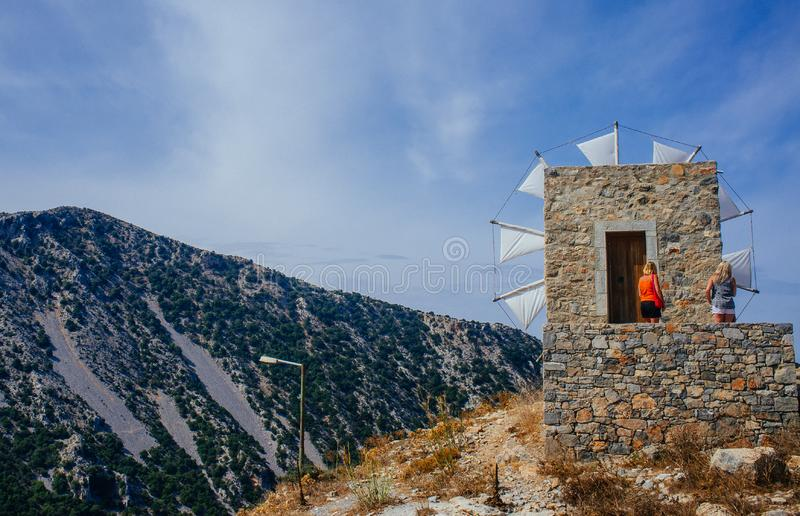 Crete - Lasithi Plateau water mill 8 royalty free stock photo
