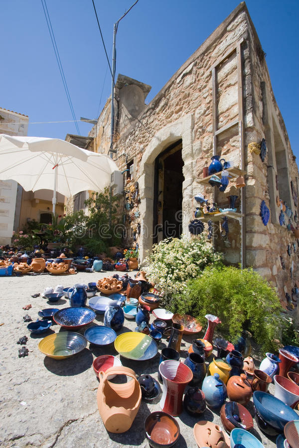 Crete pottery shop. Colorful pottery for sale outside shop in Margarites, Crete, Greece stock image