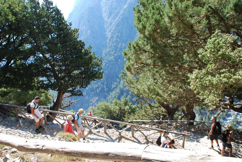Crete, Samaria Gorge, very beautiful view of the mountains and small trees, stones, sand and hot sun stock photography