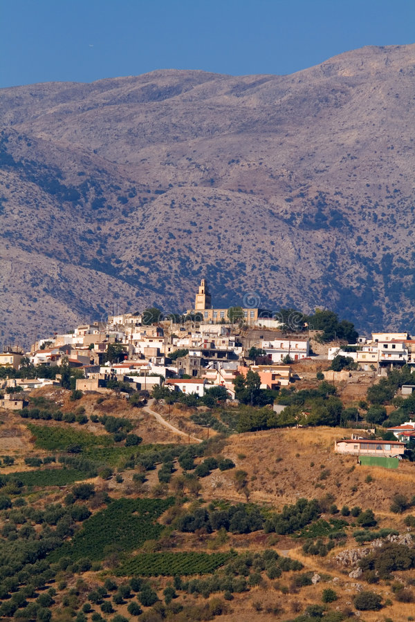 Download Crete village in mountains stock image. Image of trees - 3046383