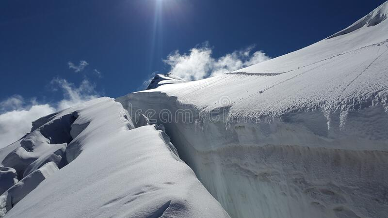 Crevasse in glacier on Ortler, Italy royalty free stock photos