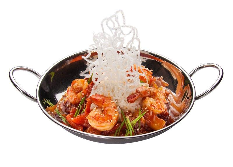 Crevette avec des l?gumes en sauce aigre-doux Cuisine asiatique photos stock