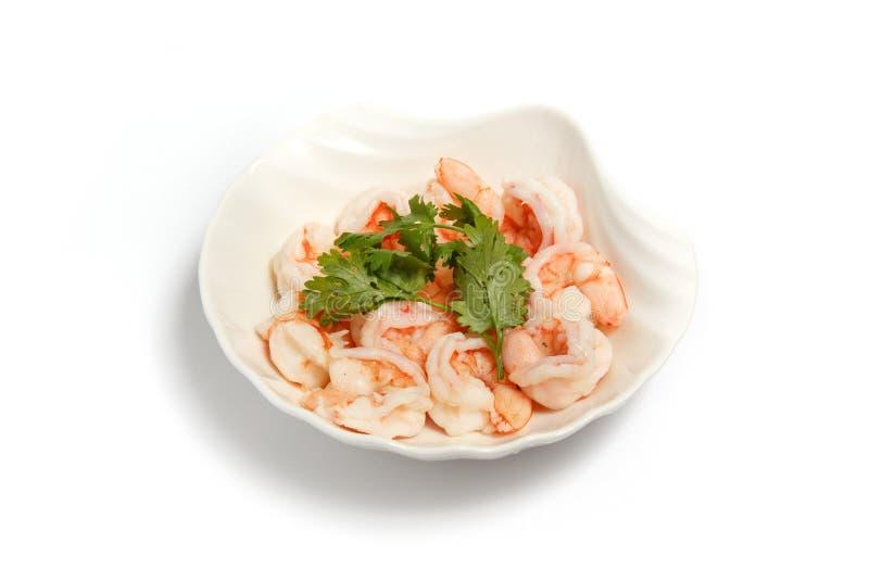 Crevette cuite à la vapeur de plat images stock