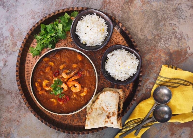 Crevette de cari plat indien traditionnel de cari images stock