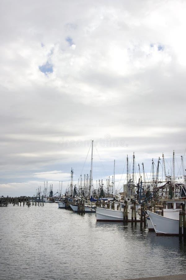 crevette du Mississippi de dock de bateaux images stock