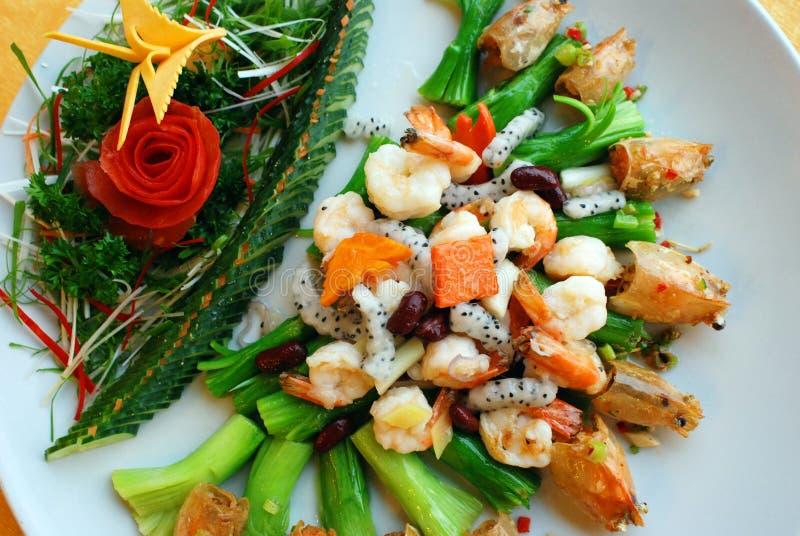 Crevette et fruit frits image libre de droits