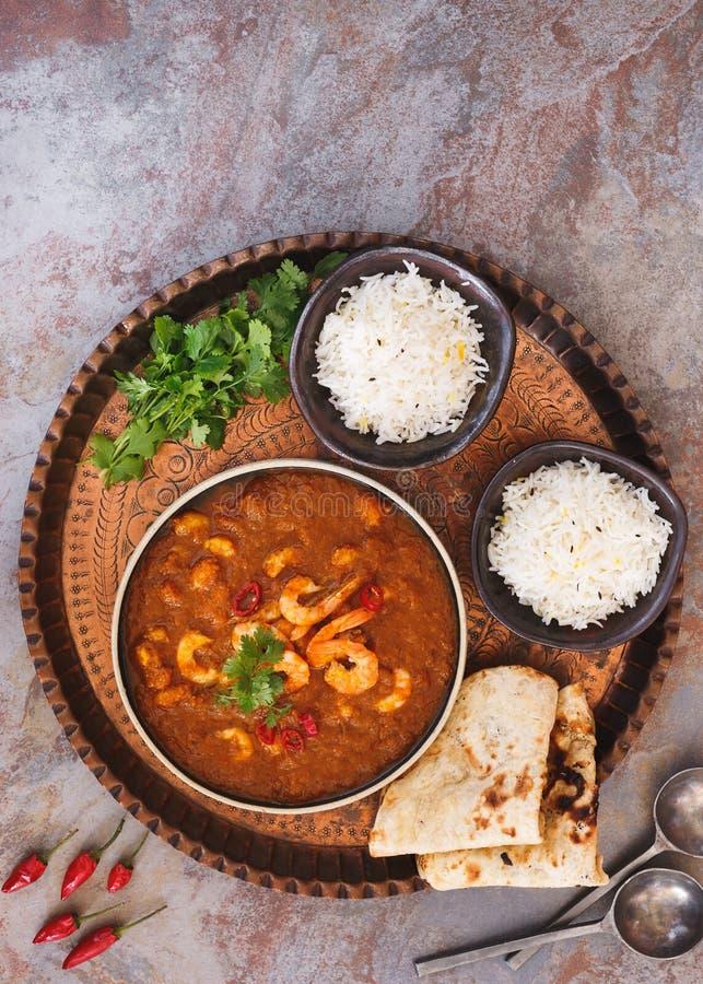 Crevette Masala, plat indien traditionnel de cari de crevette rose images stock