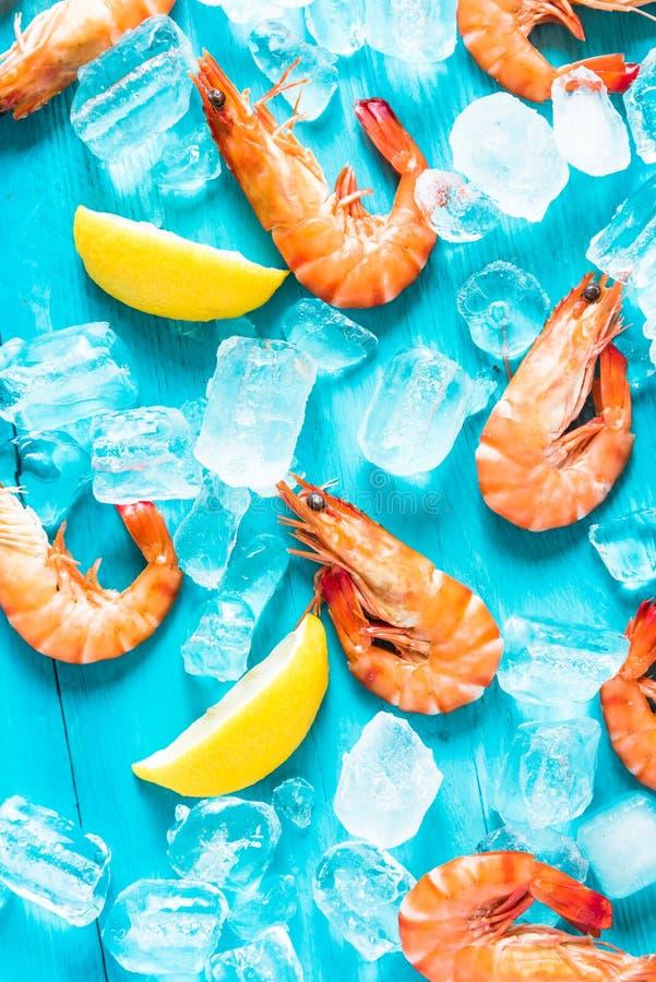 Crevette rose et citron frais entiers photographie stock libre de droits