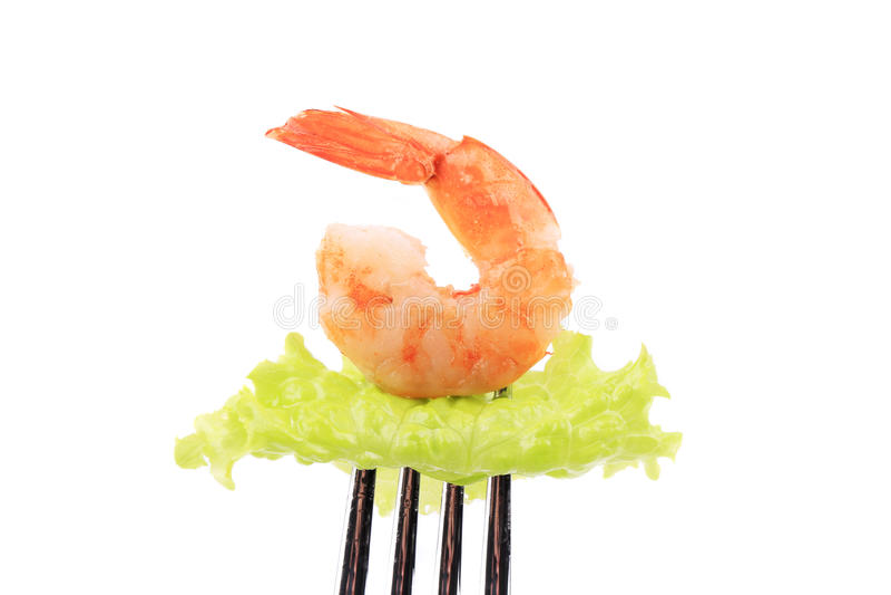Crevette sur la fourchette. photo stock
