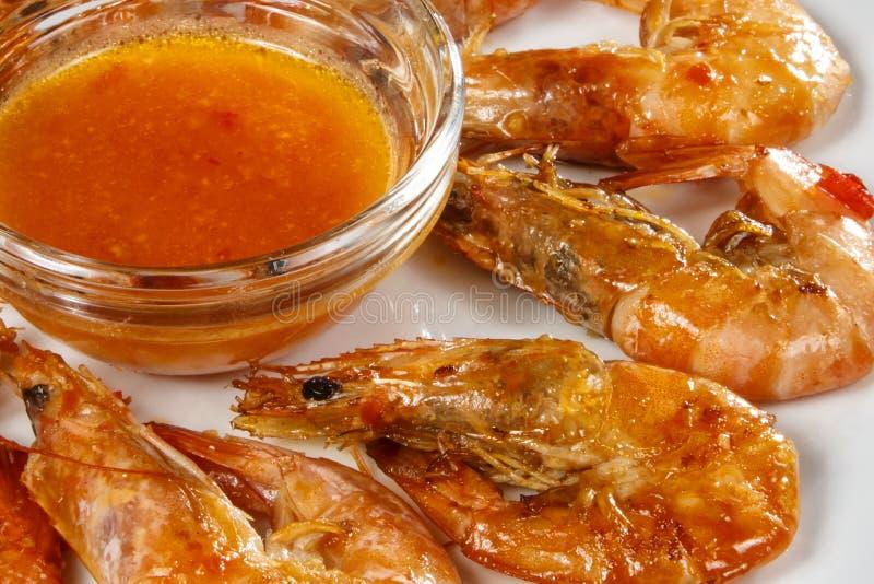 Crevettes épicées dans thaïlandais images libres de droits