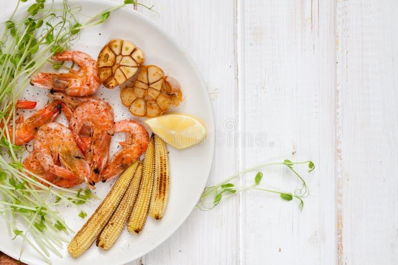 Crevettes, maïs et ail Toasty photographie stock