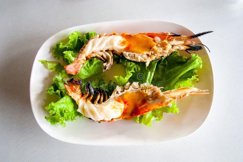 Crevettes roses de rivière grillées photos libres de droits