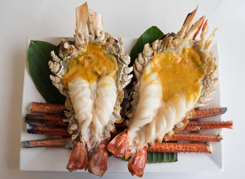 Crevettes roses de rivière grillées photographie stock
