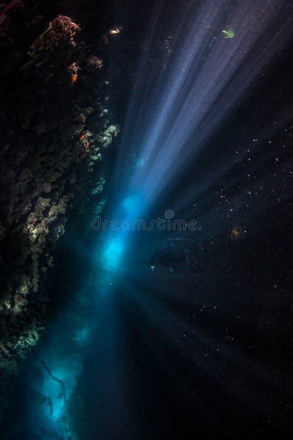 Crevice рифа и солнечный свет 2 стоковые изображения rf