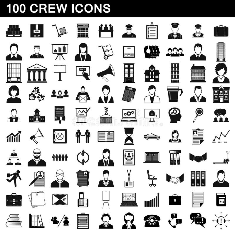 100 crew icons set, simple style vector illustration