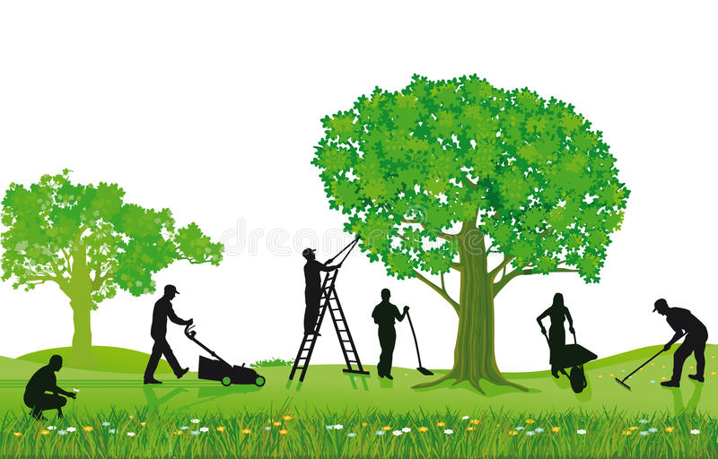 Crew of landscapers working outdoors stock vector for Paysagiste logo