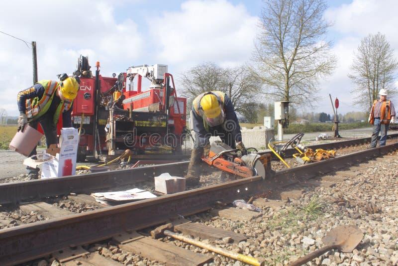 Crew Maintaining Railway Track royalty free stock photography