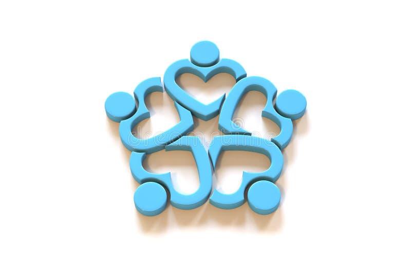 Unusual Heart People logo. Teamwork group of five persons. 3D Render Illustration vector illustration