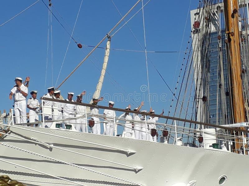 Crew saying goodbye. Frigate Libertad Argentina royalty free stock photos