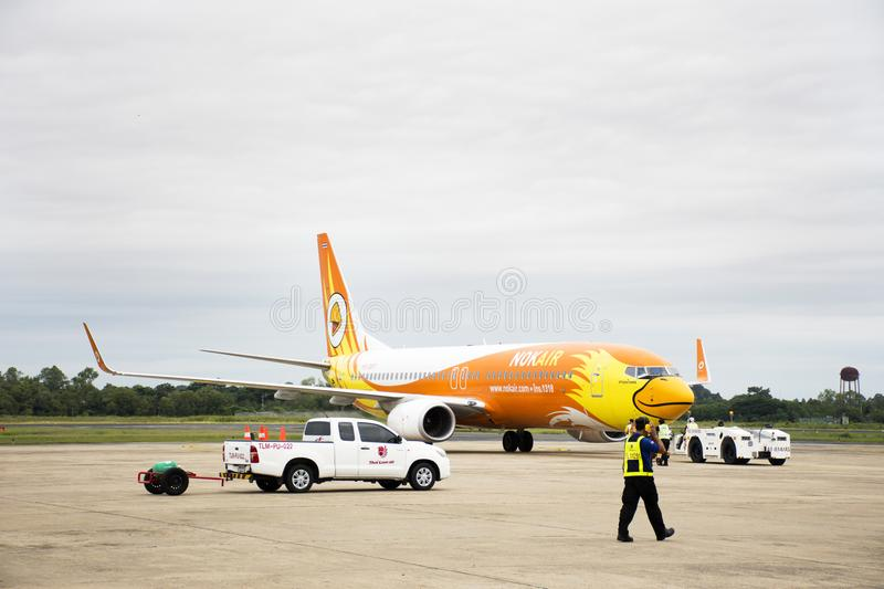 Crew worker prepare tools for Aircraft landing on runway at Airport royalty free stock images