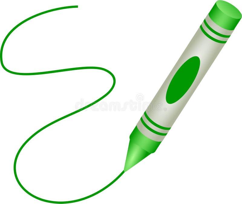 Creyón verde stock de ilustración
