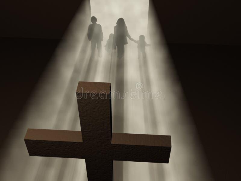 Creyentes antes de una cruz ilustración del vector