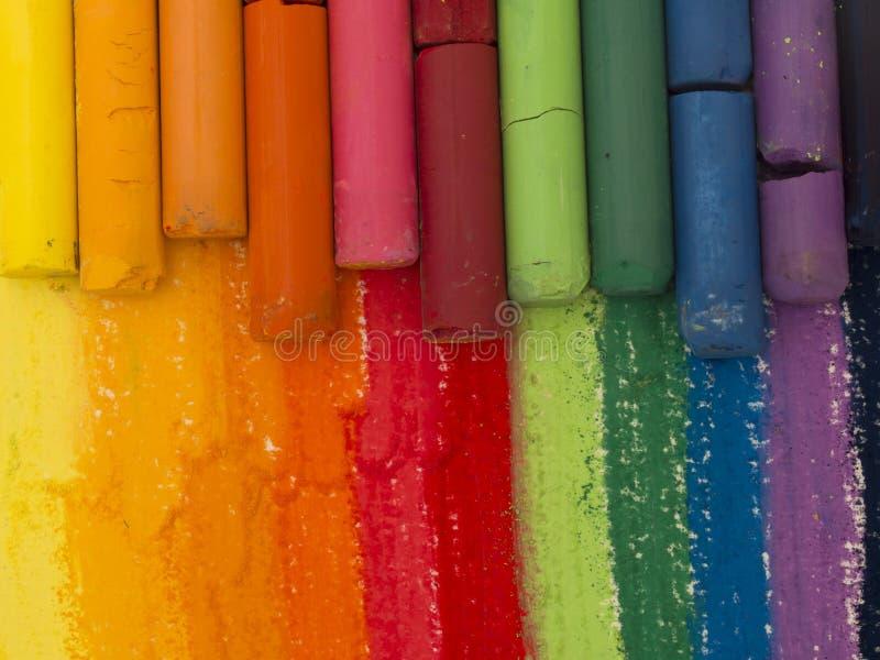 Creyones artísticos coloridos fotografía de archivo libre de regalías