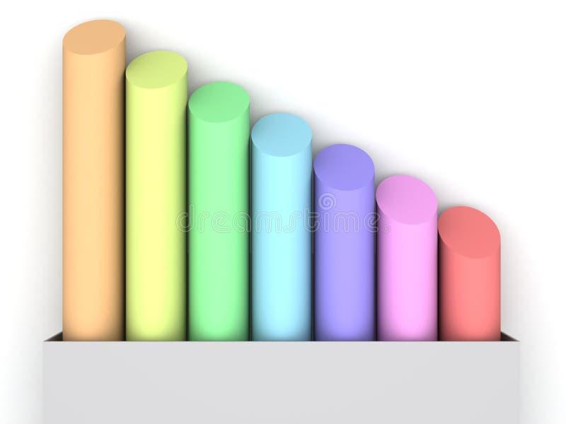 Creyones coloreados en el fondo blanco ilustración del vector