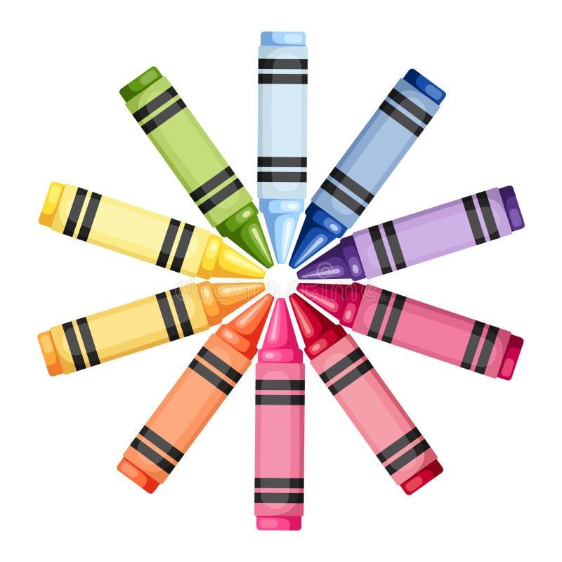 Creyones coloreados en un círculo Ilustración del vector libre illustration
