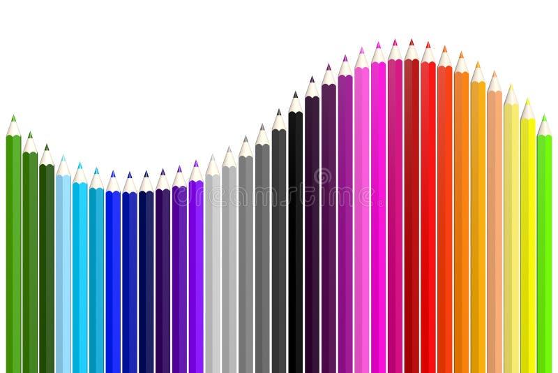 creyones de madera coloridos de los lápices 3D - forma de onda libre illustration