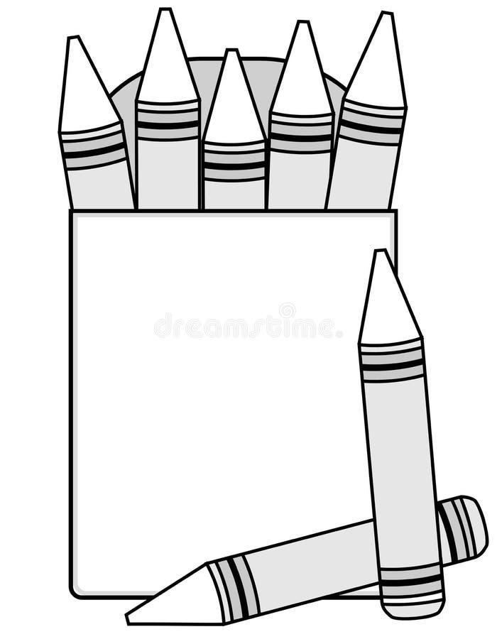 Creyones y rectángulo en blanco del creyón ilustración del vector