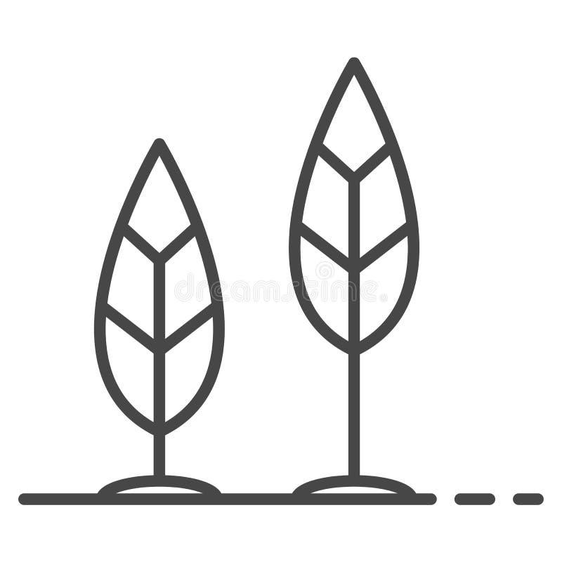 Crezca el icono de la hoja, estilo del esquema stock de ilustración