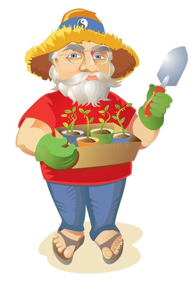 Crezca a su propio jardinero orgánico del Hippie ilustración del vector