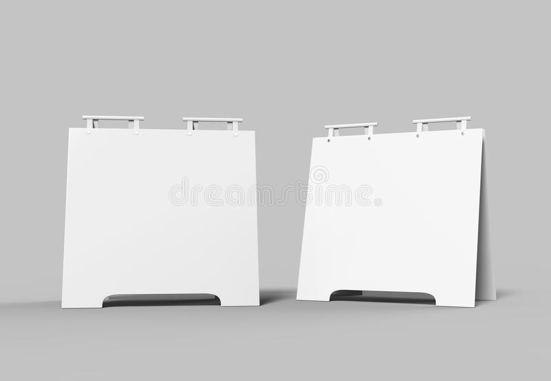 Crezon ou panneaux publicitaires porté par un homme-sandwich d'Un-cadre de PVC pour la moquerie de conception se lèvent et présen illustration de vecteur