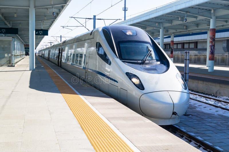 CRH高速高速火车的看法 库存图片
