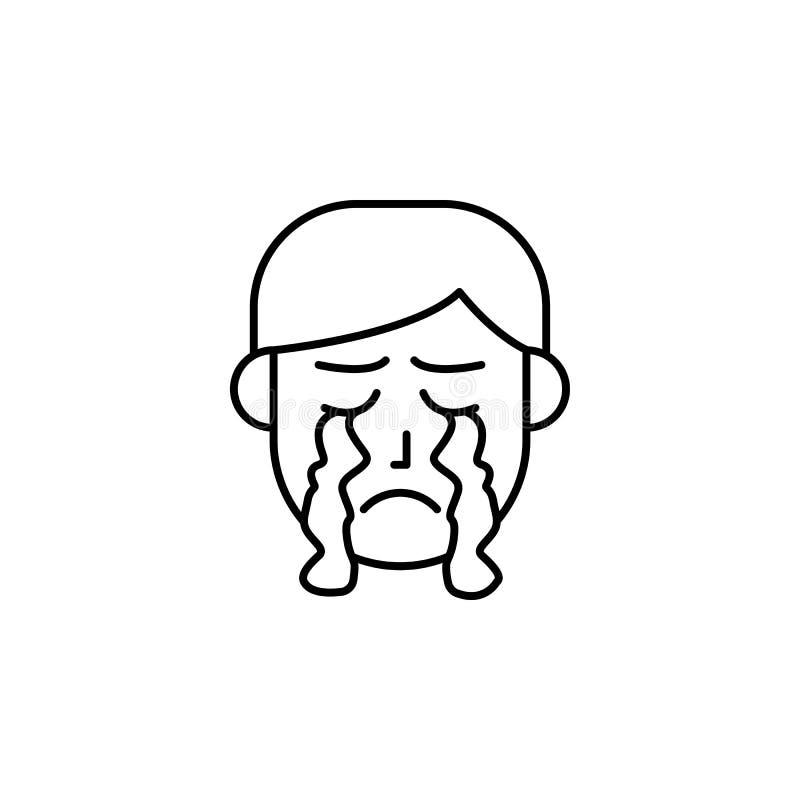 Cri, larme, icône de réaction allergique Élément des problèmes avec l'icône d'allergies Ligne mince icône pour la conception de s illustration libre de droits