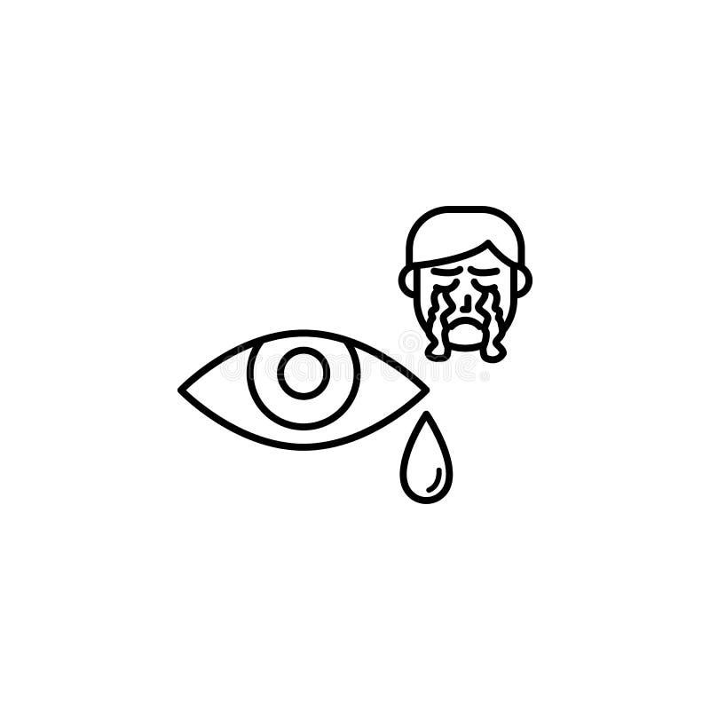 Cri, oeil, larme, icône allergique de visage Élément des problèmes avec l'icône d'allergies Ligne mince icône pour la conception  illustration stock