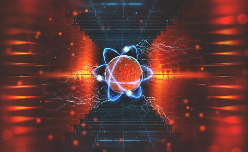 Criação da inteligência artificial Experiências com o collider hadronic Investigação da estrutura de um átomo ilustração do vetor