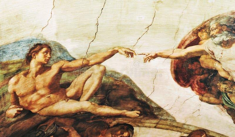 A criação de Adam, Michelangelo imagens de stock royalty free