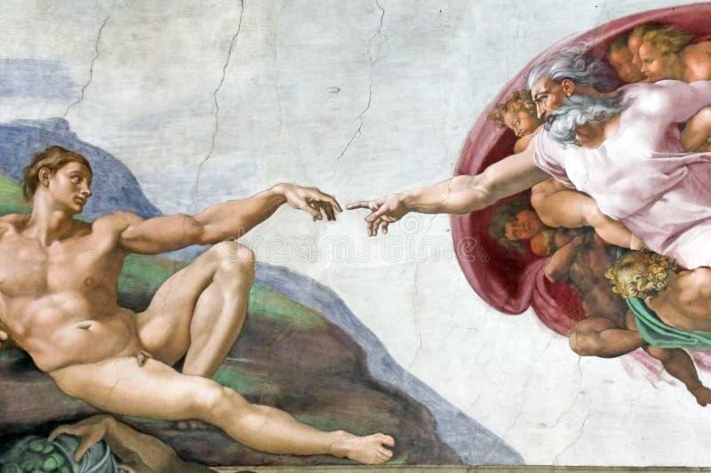 Criação de Adam na capela de Sistine imagem de stock