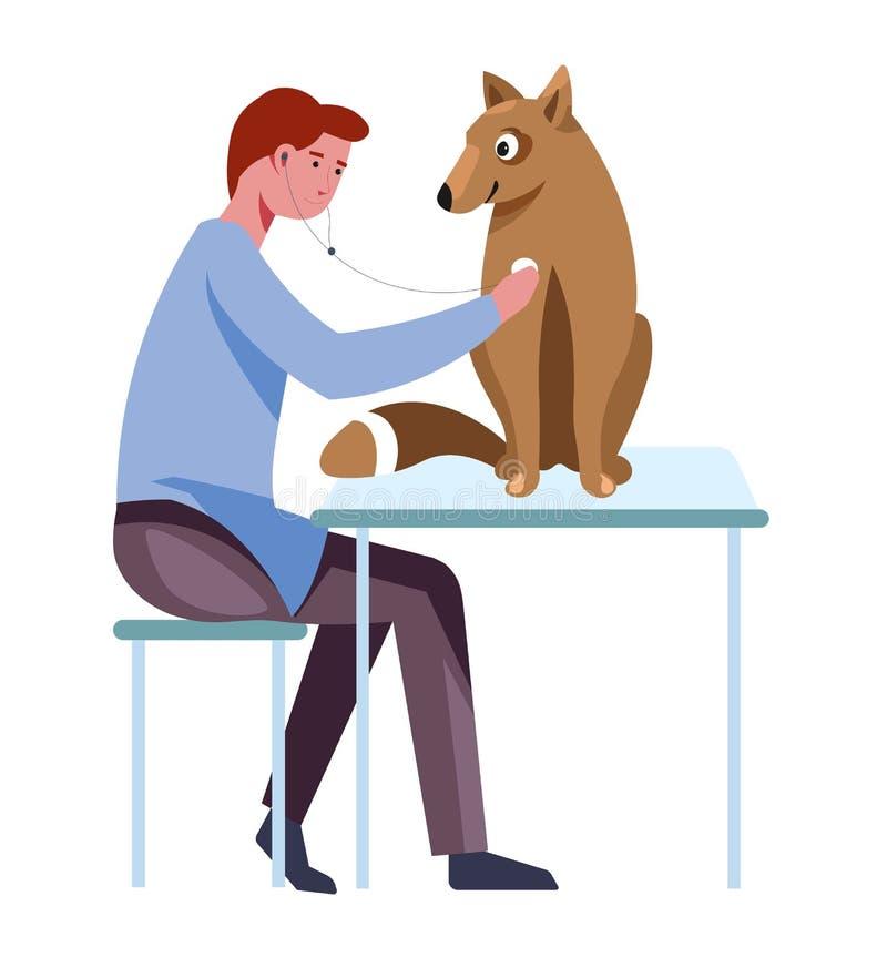Criação de animais e cuidado de cão para animais pelo vetor do doutor ilustração stock