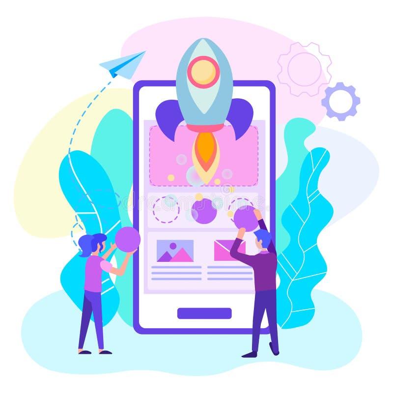 A criação de um projeto em linha móvel, trabalhos de equipe de desenhistas da Web, começa acima de uma aplicação móvel, de progra ilustração do vetor