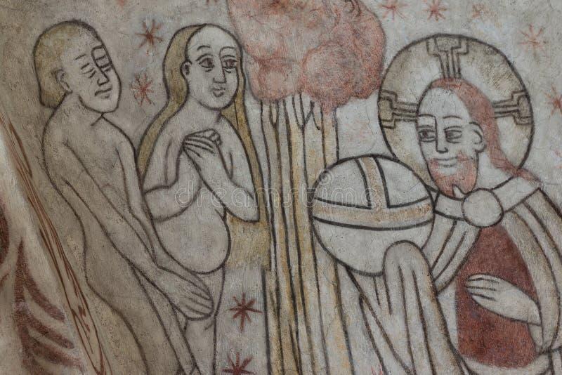 A criação do homem, um fresco gótico fotografia de stock