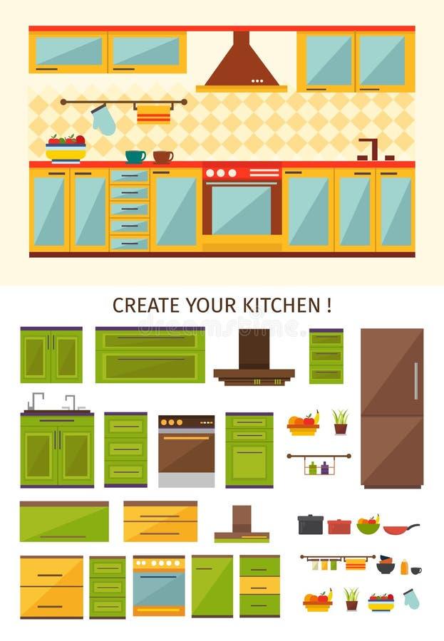 Criação interior da cozinha ilustração stock