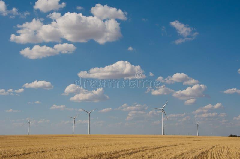 Criação livre limpa Texas ocidental da energia renovável da exploração agrícola da turbina eólica imagem de stock