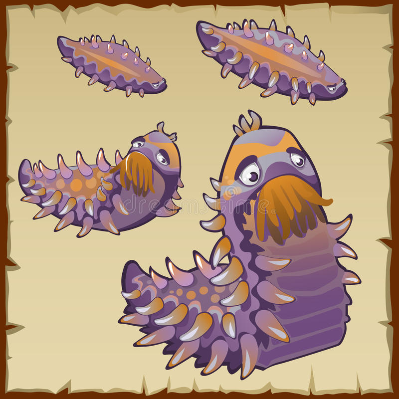 A criação subaquática estranha gosta de uma lagarta ilustração stock