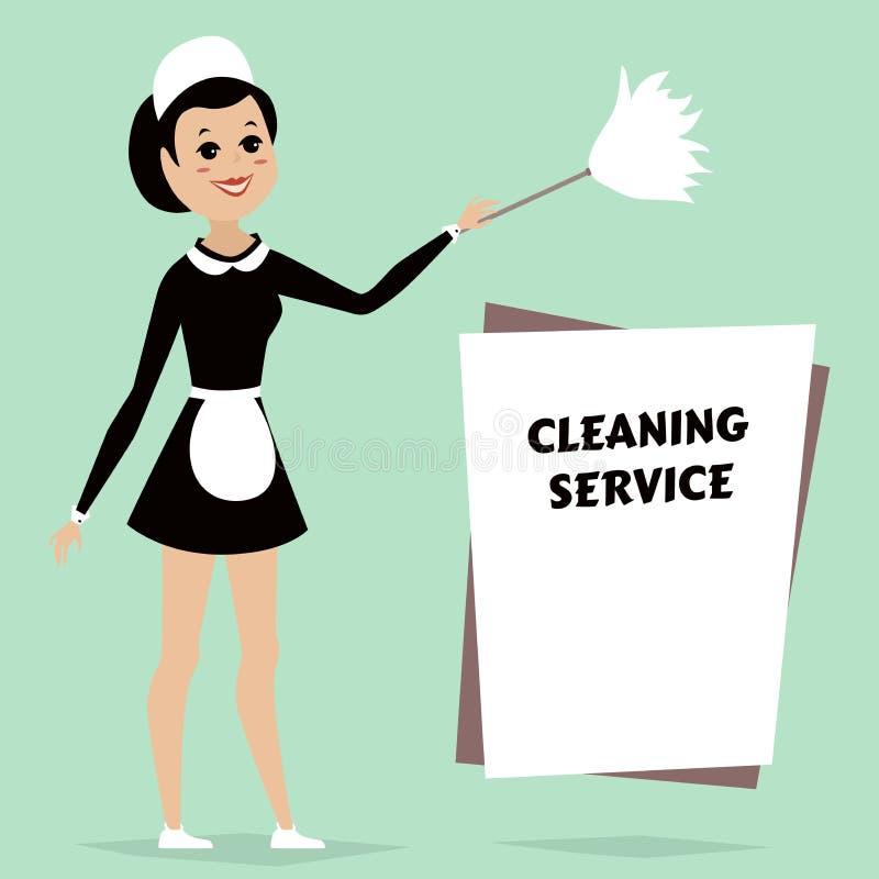Criada en vestido clásico de la criada con el plumero de la limpieza Anuncio del servicio de la limpieza con el espacio para el t ilustración del vector