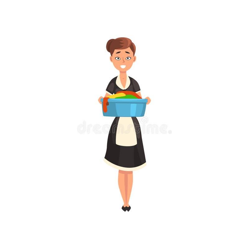 Criada que sostiene un lavabo con el lino limpio mojado, carácter de la criada que lleva el uniforme clásico con el vestido negro stock de ilustración