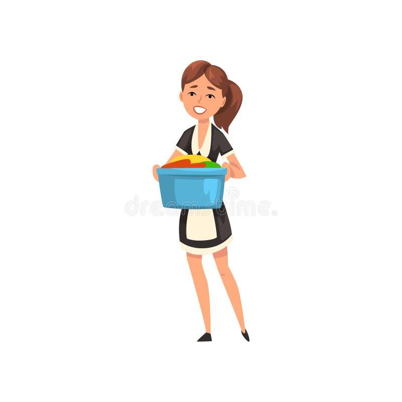 Criada sonriente que sostiene un lavabo con lino limpio, carácter de la criada que lleva el uniforme clásico con el vestido negro ilustración del vector